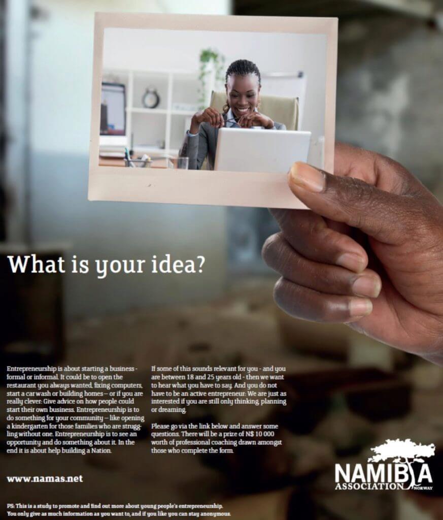 Denne Facebookkampanje ble brukt for å rekruttere unge voksne til å delta i studien. Utvalget kan ikke bli sett på som representativt, men resultatene er eksempler på unge namibiernes erfaringer.