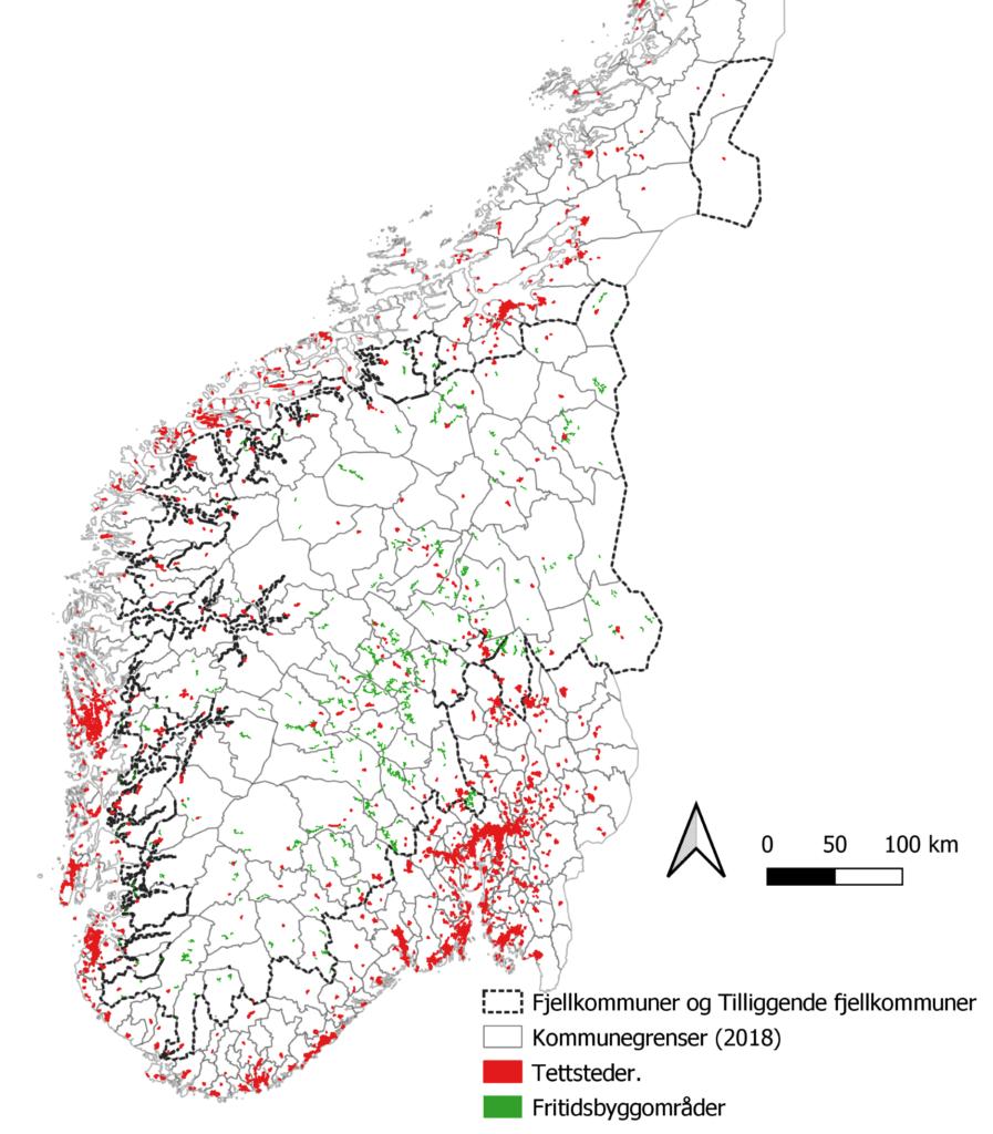 Norgeskart med røde prikker som er tettsteder og byer, grønne prikker som er hytter